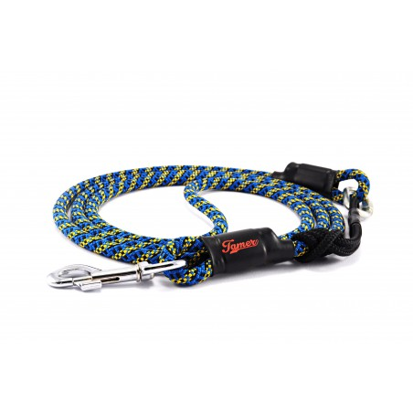 Dog leash Tamer blue/black/yellow with sliding system