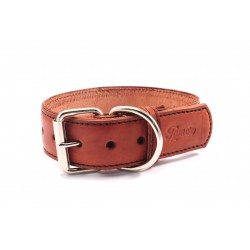 Leather collar Tamer brown, wide 5 cm