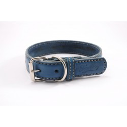 Leather collar Tamer blue, width 4 cm