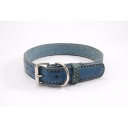 Leather collar Tamer blue, width 3,5 cm