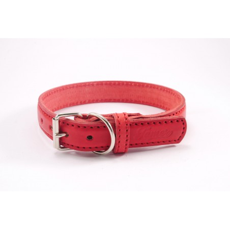 Leather collar Tamer red, width 3,5 cm