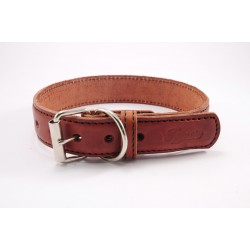 Leather collar Tamer brown, width 3 cm