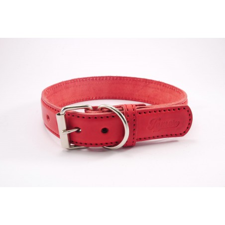 Leather collar Tamer red, width 3 cm