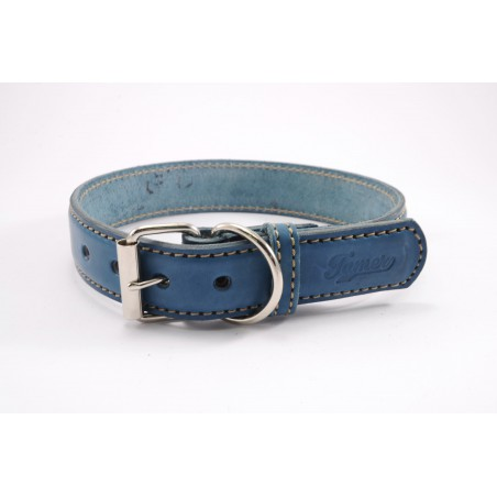 Leather collar Tamer blue, width 3 cm