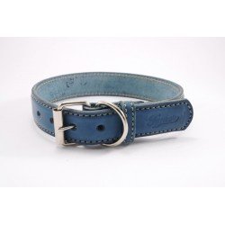 Leather collar Tamer blue, width 2,5 cm