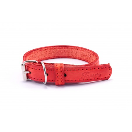 Leather collar Tamer red, width 2,5 cm